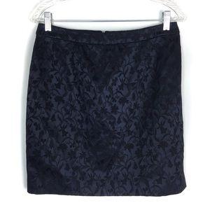 Tahari For Bloomingdales Navy Jacquard Skirt